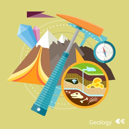 Soil Layers with dinosaur fossil. Cross section of ground. Rocks with minerals Concept in flat design cartoon style on stylish background
