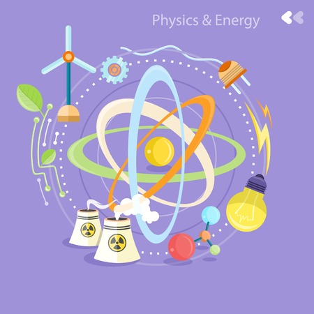 quantum: Science and physics energy icons set. Chemistry, physics, biology. Concept in flat design cartoon style on stylish background Illustration