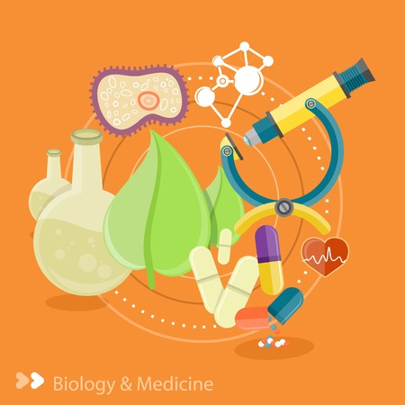 Biology and medicine. Science and technology concepts. Laboratory workspace and workplace concept. Chemistry, physics, biology. Concept in flat design cartoon style on stylish background