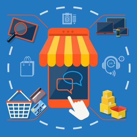 carport: Internet shopping concept smartphone with awning of buying products via on line shop store e-commerce ideas e-commerce symbols sale elements on stylish background Illustration