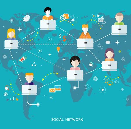 소셜 미디어 아바타 네트워크 연결 개념입니다. 소셜 네트워크에있는 사람들. 평면 디자인의 소셜 네트워크에 대 한 개념입니다. 많은 다른 사람들과