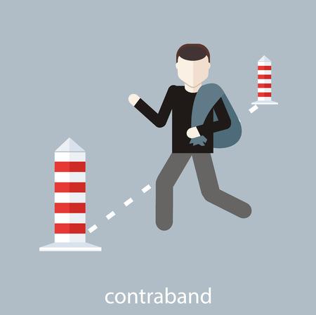 aduana: Concepto de dise�o plano. Hombre lleva contrabando en la bolsa a trav�s del puesto de control en la frontera aduanera