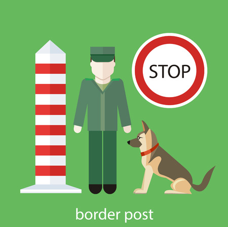 customs: Officer custom control. Customs officer with the dog at the customs post. Concept in flat design