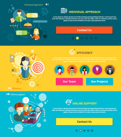 representative: Customer service representative at computer in headset. Online support. Cartoon phone operator. Individual approach. Support centerand efficiency. Customer support interactivity in flat design concept on banners