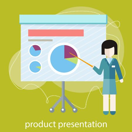 product presentation: Flat design concept of businesswoman presenting development and financial planning on meeting conference. Product presentation Illustration