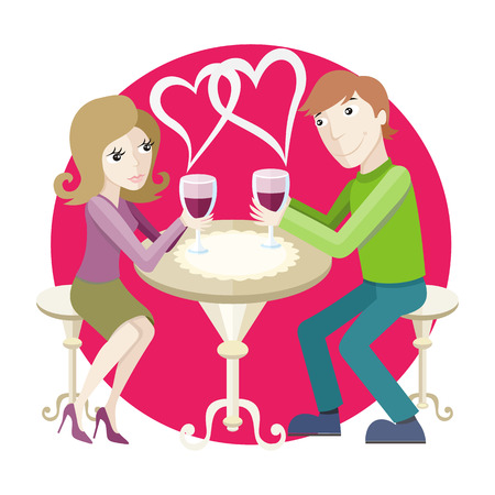 amorous: St Valentine concept. Young happy amorous couple with glasses of redwine on romantic date at restaurant.