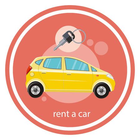 Gele auto met een sleutel. Huur een auto concept in flat cartoon design stijl op stijlvolle achtergrond Stock Illustratie