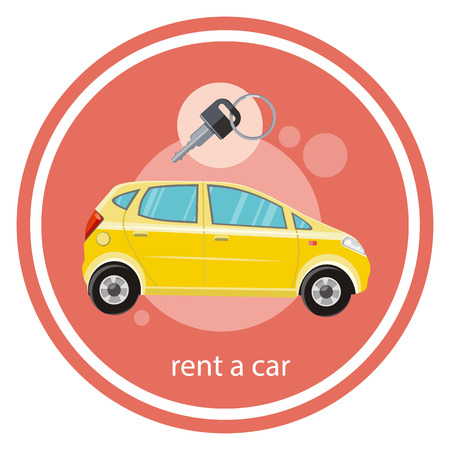 service car: Yellow car with a key. Rent a car concept in flat design cartoon style on stylish background