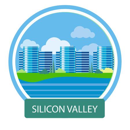 silicio: Signo de Silicon Valley. Edificio de oficinas en Silicon Valley. Concepto Cartel en estilo de dibujos animados con el texto Vectores