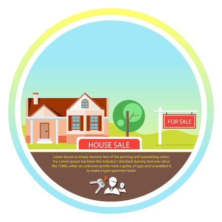 for advertising: Sold home with for sale sign in front of beautiful new house. Concept in flat design cartoon style on stylish background