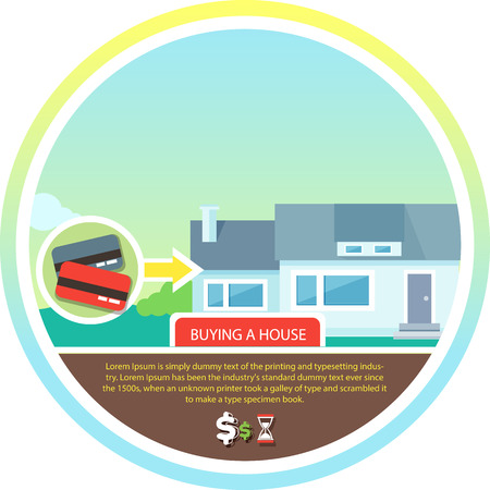 buying real estate: Buying house money from card for home. Real estate concept in flat design cartoon style on stylish background