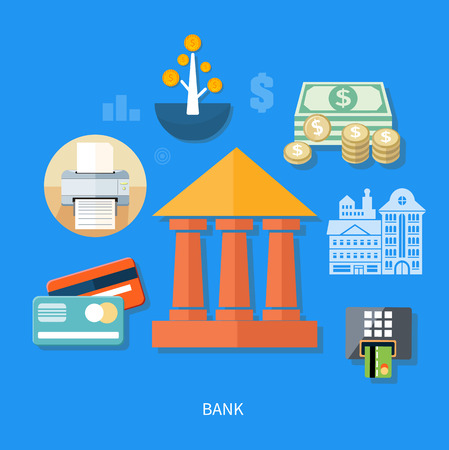 banking concept: Bank office symbol with ATM dollars tree and cards icon. Banking concept in flat design Illustration