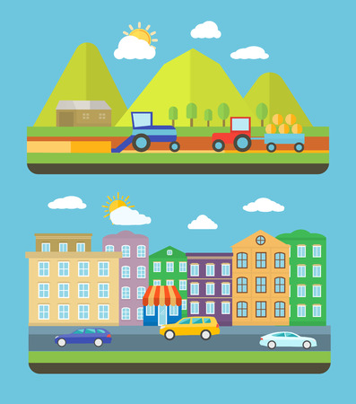 going green: City scene where the residents are very conscious about their environment and going green concept. Farm vellage landscape life background with item icons in flat design style