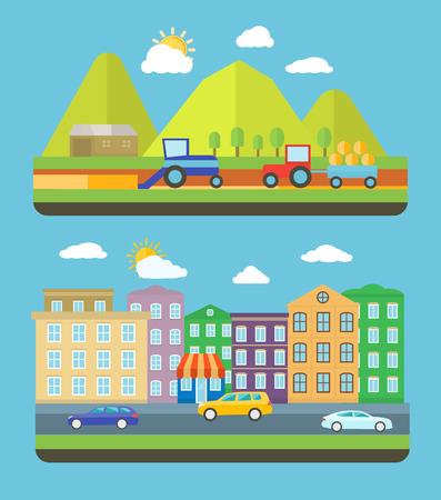 bilinçli: Sakinlerinin çevre ve yeşil konsept gidiş hakkında çok bilinçli kent sahnesi. Düz tasarım stili öğe simgeleri ile çiftlik Vellage manzara hayat arka plan
