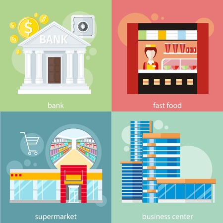 general store: Modern business center concept. Supermarket general store, shopping mall and fashion store. Bank office symbol and safe icon. Fast food restaurant. Concept with item icons in flat design