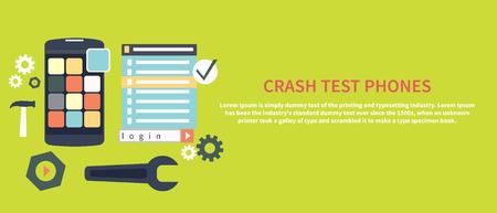 test: Repairing mobile phone concept. Crash test phones banner in flat design