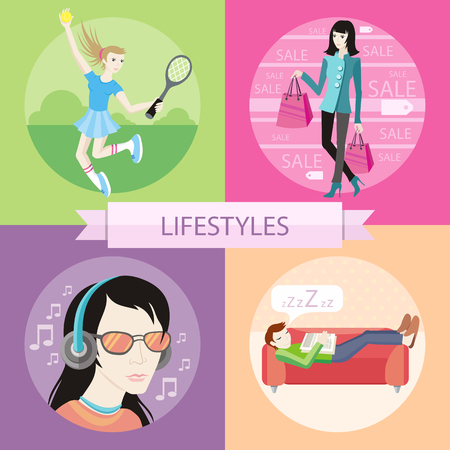 sleeping bags: Man sleeping on sofa. Man with glasses in headphones listening to music. Tennis sport concept with item icons. Beautiful woman with a lot of shopping bags. Lifestyles concepts