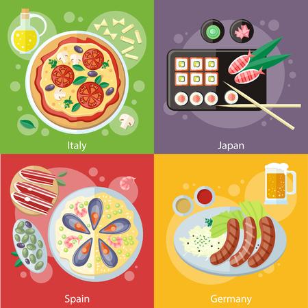 comida alemana: Alimentos Oktoberfest alemania. Paella comida española tradicional con arroz y mariscos. España el concepto de alimentos. Comida italiana. Pizza con sus ingredientes. Sushi japonés comida japonesa tradicional. Concepto de diseño plano