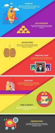 Icons für Cash-Transaktionen, Kopfarbeit, Strategieplanung, Start up Business-Tools Beobachtung kreatives Team Mind Mapping Brainstorming E-Learning-Zeit ist Geld. Konzept von verschiedenen Symbole in flache Bauform Standard-Bild - 37403875