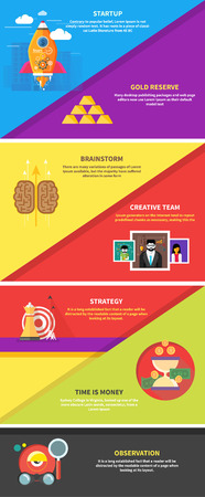 Icons for cash transactions, headwork, strategy planning, business tools start up observation creative team mind mapping brainstorm e-learning time is money. Concept of different icons in flat design