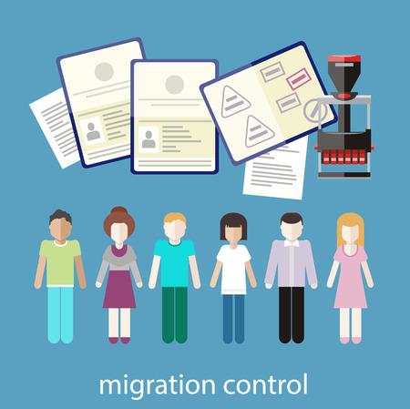 migraci�n: Concepto de Inmigraci�n en dise�o plano. Control de la migraci�n. Un grupo de personas con sellos en los pasaportes de las costumbres