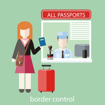 Border control concept in flat design. Woman gives a passport to check customs officers Vettoriali