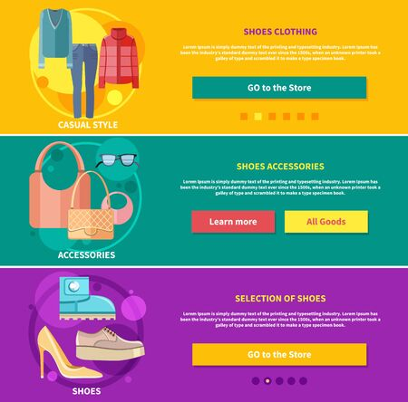 decorative accessories: Fashion design clothes and accessories for woman decorative elements icons in flat design style on multicolor banners. Selection, accessories and clothing shoes