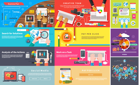 Creative team. Young design team working at desk. Business plan strategy with touchscreen presentation. Search for solutions infographics. Businessman working on notebook with different task. Analysis actions. Pay per click