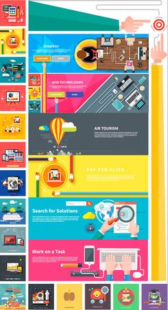 mercadotecnia: Marketing digital de gestión de pago diseño de análisis de planificación srartup por clic SEO medios de comunicación social que viajan turismo y el desarrollo de lanzamiento. Banners para sitios web de estilo de diseño plano