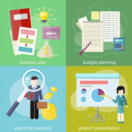 investors: businesswoman presenting development and financial planning on meeting conference. Product presentation. Search for investors concept. Business plan concept icons in flat style. Budget planning concept