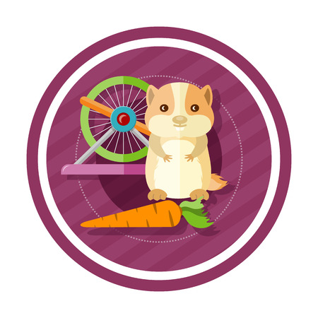 sneaking: Golden hamster eating carrot near round cells. Concept in cartoon style