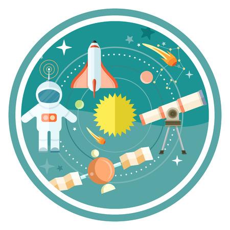 sistema: Iconos del espacio y la astronom�a establecen con telescopio globo cohete astronauta. Concepto de dise�o de estilo de dibujos animados plana en el fondo con estilo