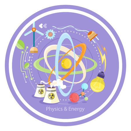 quantum physics: Science and physics energy icons set. Chemistry, physics, biology. Concept in flat design cartoon style on stylish background Illustration