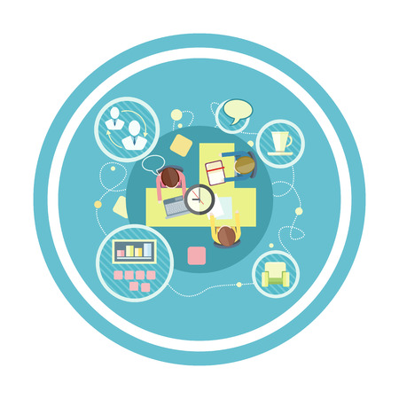 Coworking concept. Co-working item icons. Business meeting top view in flat design. Shared working environment Vectores