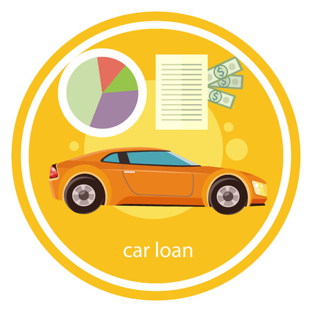car rent: Car loan approved document with dollars money. Modern car on stylish background in flat cartoon design style Illustration