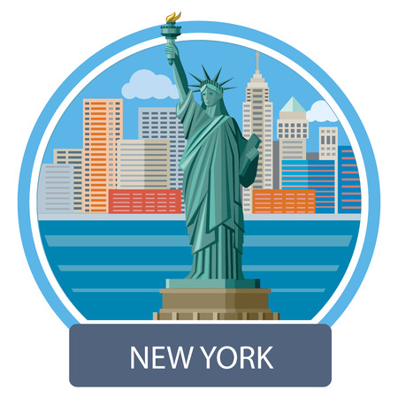 waterfront: New york cityscape. Manhattan Skyline and Statue of Liberty, New York City. Poster concept in cartoon style with text
