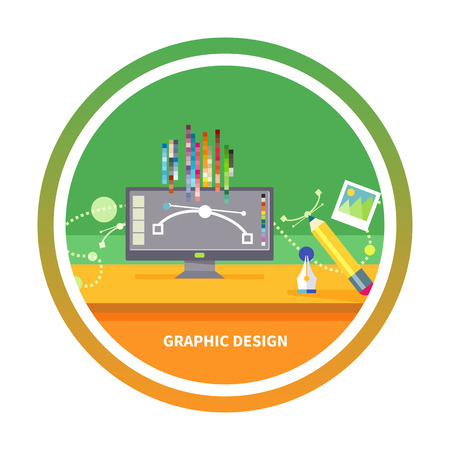 Concept for graphic design, designer tools and software in flat design with computer surrounded designer equipment and instruments Illustration