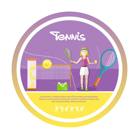 girl tennis: Tennis sport concept with item icons. Portrait of sporty girl tennis player with racket in flat design style