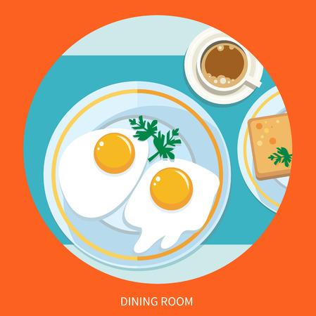 top menu: Dining room. Breakfast top view. Coffee, fried egg, waffles. Morning breakfast menu in cartoon style Illustration