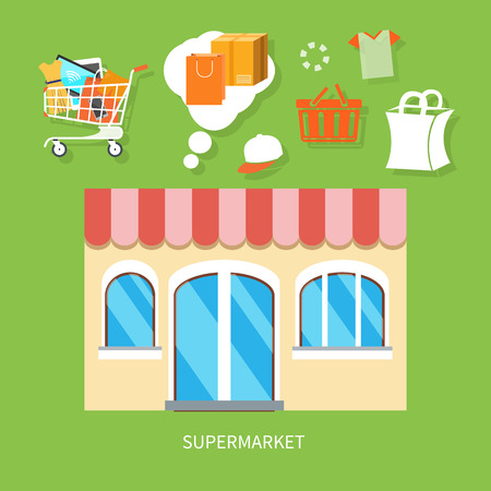 Flat design concepts of supermarket general store, shopping mall and fashion store