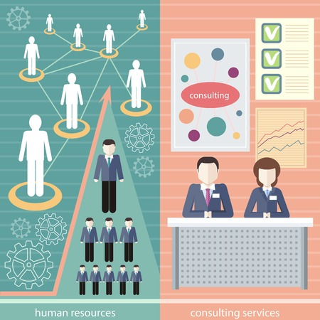 linked services: Management consulting services and human resource icons. Linked people. Human resource network template, info graphics in flat design