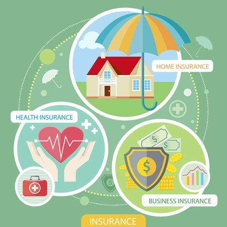 convivencia familiar: Iconos del seguro establecen conceptos de seguro de hogar, seguro de salud, seguro de riesgo de negocio. Conceptos de diseño plano