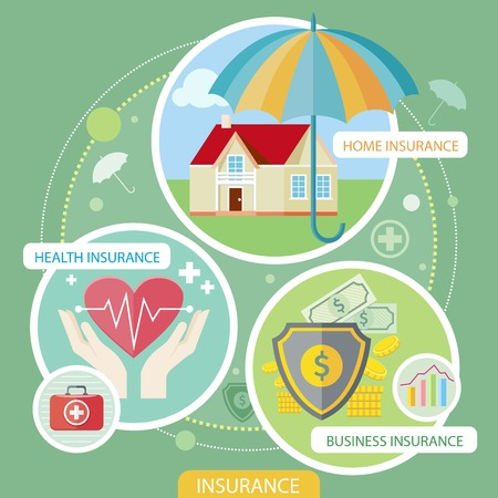 family policy: Insurance icons set concepts of home insurance, health insurance, business risk insurance. Concepts in flat design