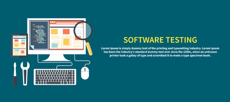Software development workflow process coding testing analysis concept banner in flat design