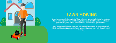 push mower: Man moves with lawnmower, mows green grass near house. Man cutting grass in his garden yard with lawn mower in flat design Illustration