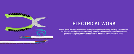 electric cable: Electrical work. Metal pliers with tangled blue red electric cable, pliers cut the cable. Electrician peeling off insulation from wires and pliers. Flat icon modern design style concept