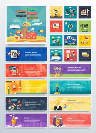 klik: Het beheer van digitale marketing srartup en analytics en ontwikkeling te lanceren. Banners voor websites. Pictogrammen voor webdesign analytics grafisch ontwerp en pay per click reclame op het internet in plat ontwerp Stock Illustratie