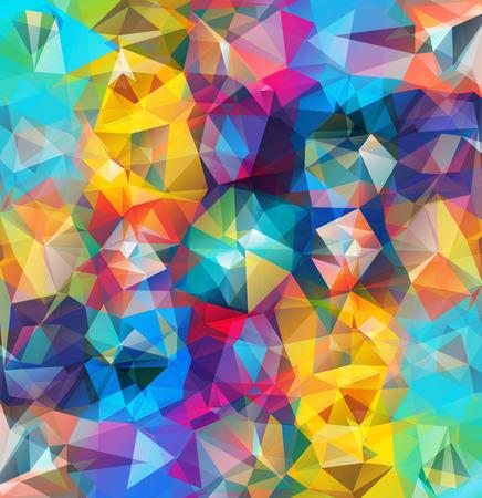 Abstrato geométrico. Triângulos multicoloridos. Bela inscrição. Fundo do triângulo com linhas brilhantes. Padrão de formas geométricas cristalinas. Banner de mosaico multicolor