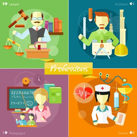 schoolmaster: Doctor, nurse, hospital doctor, nurse jobs. Pretty teacher with a pointer. Man in court. Lawyer icons concept. architect constructor at his work place with tools. Concept in flat design