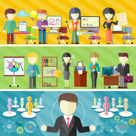 gerente: Concepto de equipo de negocios dinámico en diseño plano. Trabajo en equipo en la oficina, conceptos independientes en banderas. Director del proyecto principal gestiona el trabajo en equipo